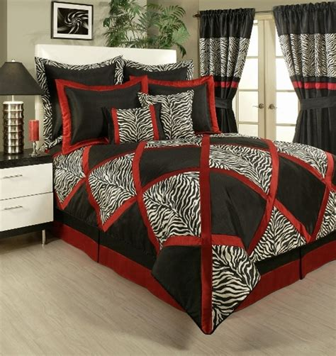 red black and white comforter set 4pc lush red white black animal print pieced comforter set