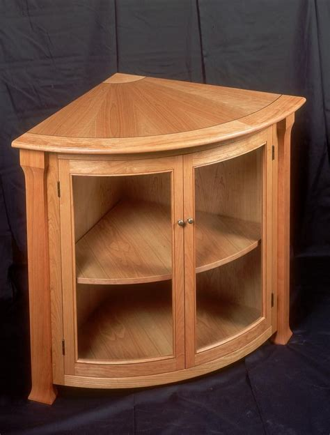 Spellbinding Wood Corner Cabinet with Doors also Curved