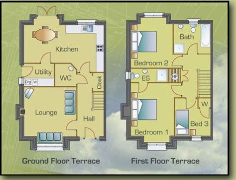 2 Bedroom Home Plans by Floor Plan Of Three Bedroom Terraced Houses At Cill Gr 233 Ine