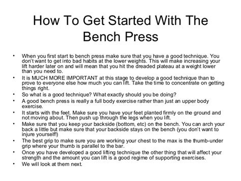 bench press for beginners bench press workout routine beginners