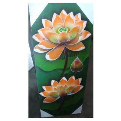Lukisan Teratai Lukisan Teratai Orange 20x50 Oleh2bali Kerajinan