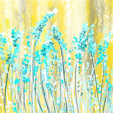 yellow and turquoise turquoise and yellow painting by lourry legarde