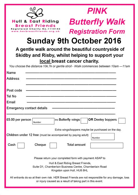 Pink Butterfly Walk Sunday 9th October 2016 Her Breast Friends Charity Walk Registration Form Template