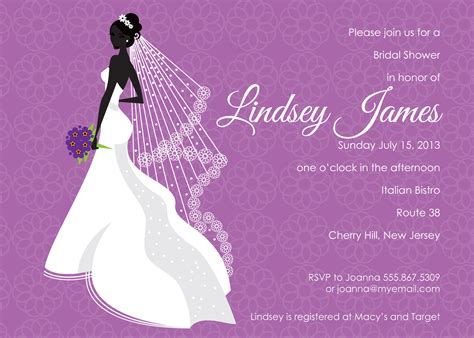 bridal shower invitation cards templates purple bridal shower invitations template best template