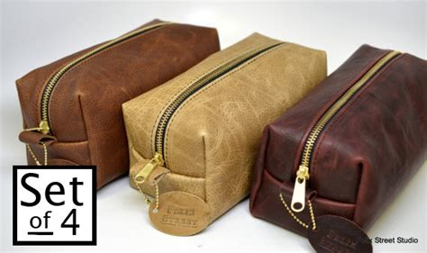 Handmade Groomsmen Gifts - personalized handmade leather dopp kit gifts for groomsmen