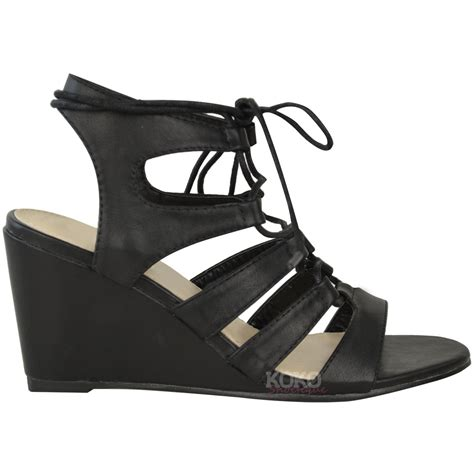 Wedges 2 Strappy womens strappy wedges mid high heel sandals lace up cut out shoes size ebay