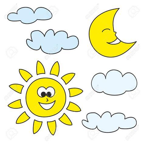 sol y la luna nubes estrellas vector de stock 169 son sun la luna y las nubes iconos de dibujos animados del