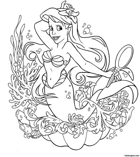 printable disney ariel little mermaid coloring page