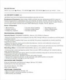 entry level security guard resume sle security guard resumes 10 free word pdf format