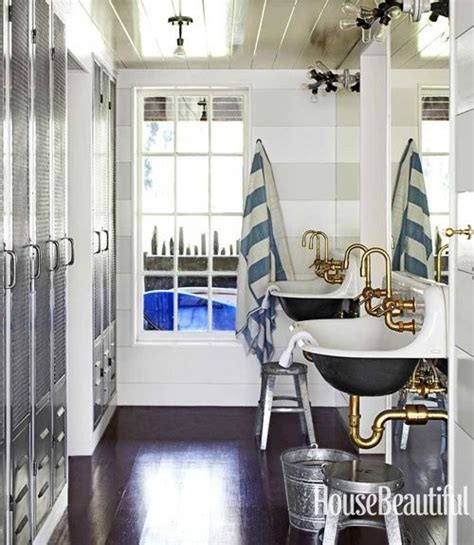 Nautical Bathroom Fixtures Nautical Bathroom Amazing Steunk Lights Lockers Grey White Stripes Brass Faucets