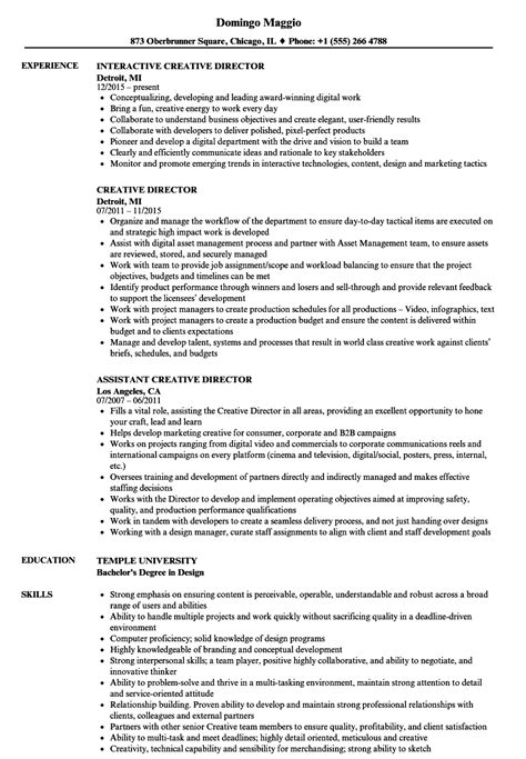 Creative Director Resume by Creative Director Resume Sles Velvet