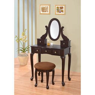 Espresso Vanity Table Ad Espresso Vanity Table Set Jewelry Armoire Mirror Makeup Desk Bench W 5 Drawer