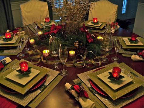 christmas centerpieces for round tables holiday table square placemats on a round table