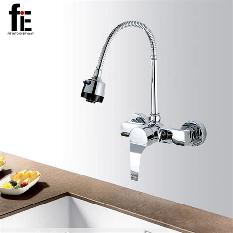 Kitchen Faucet Discount fie wall mounted double holes kitchen faucet mixers sink