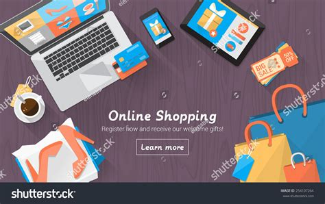 Gift Card For Online Shopping - online shopping concept desktop with computer table shopping bags credit cards