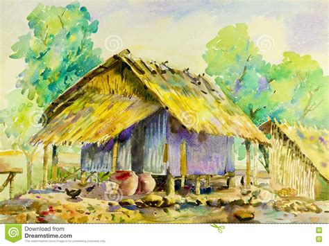colorful houses painting landscape original colorful of cottage country and bamboo