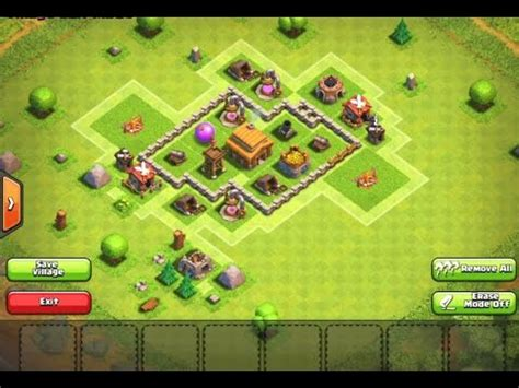 layout coc level 3 clash of clans town hall level 3 base design youtube