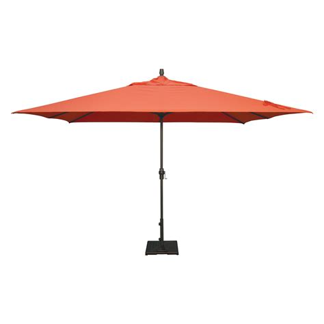 red fabric garden umbrella with square black polished iron