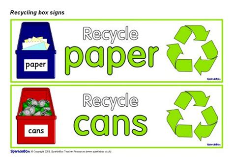 printable recycle label recycling box labels sb1242 sparklebox