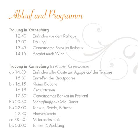 Hochzeitseinladung Programm by Einlagekarten Rosige Zeiten Orange Im Altarfalz