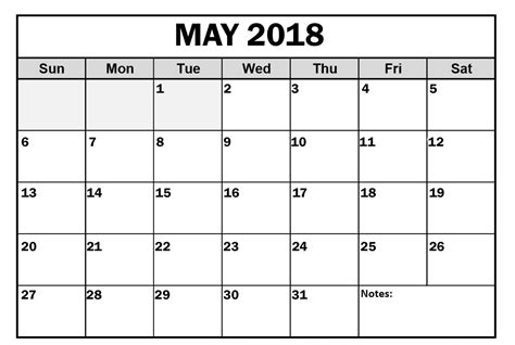 May 2018 Calendar Editable Printable Edit Calendar Template 2018