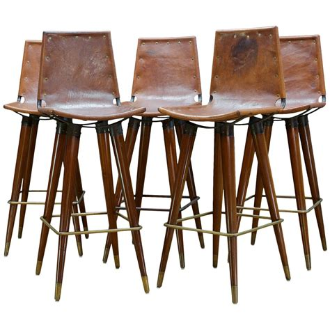 Leather Sling Bar Stool by 1960s Midcentury Leather Sling Iron Bar Stools Kitchen