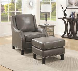 Leather Accent Chairs With Ottoman 902408 Accent Chair W Ottoman In Grey Bonded Leather By Coaster