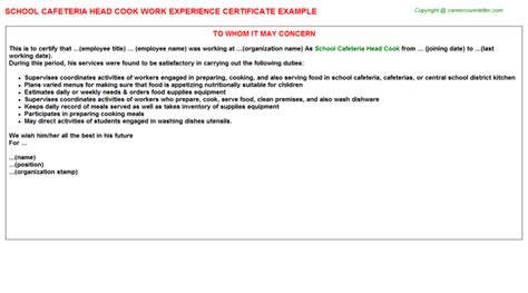 Work Experience Letter In A School School Cafeteria Cook Work Experience Certificate