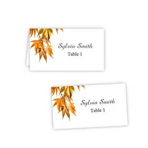 Folding Place Card Template by Fall Leaves 2 Folded Table Tent Flat Place Card Templates