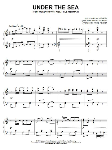 printable lyrics to under the sea under the sea sheet music by alan menken piano 66991