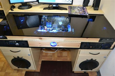 desk with built in pc all