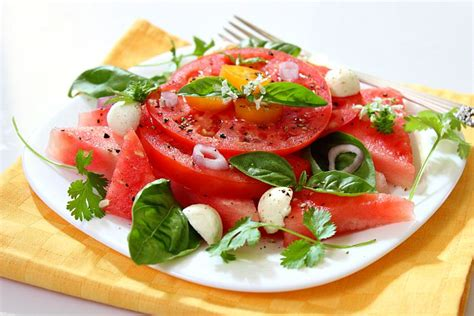 watermelon tomato salad watermelon tomato salad balsamic vinegar