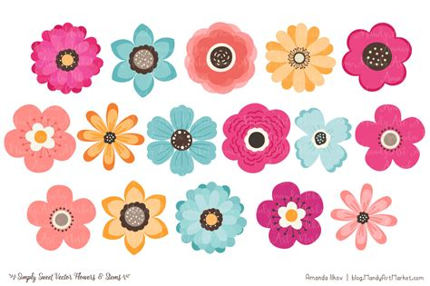 flower clipart floral clipart bohemian pencil and in color floral