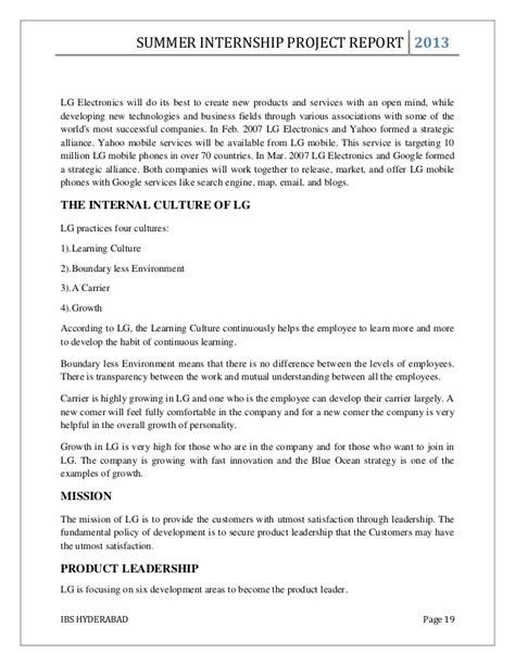 Intel Mba Summer Interships by Mba Summer Internship Project Report