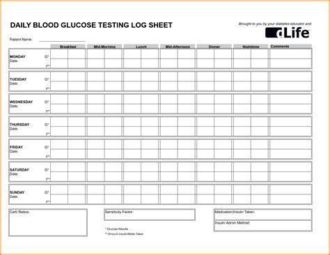 blood sugar log template doc 700369 blood sugar log template 5 plus free