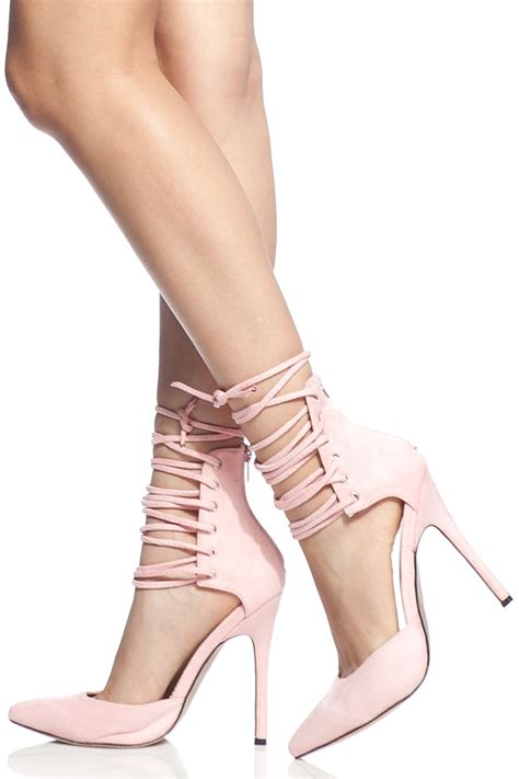 light pink lace up heels light pink faux suede lace up pointed toe heels cicihot