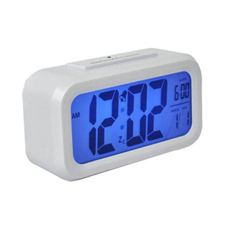 lcd digital snooze alarm clock with blue led backlight white