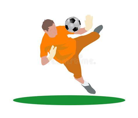 il portiere di calcio il portiere di calcio salta illustrazione vettoriale