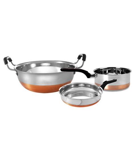 retro kitchen ware 3 piece copper bottom cookware set buy online at best price in india snapdeal