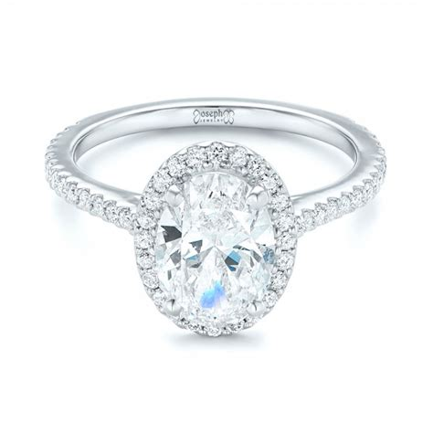 custom oval and halo engagement ring 102607