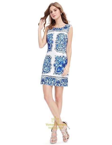 Dress Motif Mini Dress Flower Dress Summer Dress white bodycon mini summer dress with blue floral