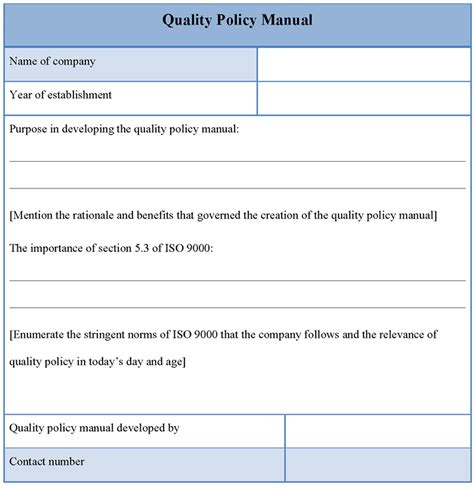 quality manual template manual template for quality policy template of quality