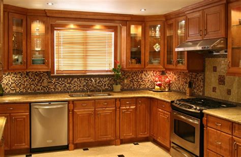 backsplash ideas for maple cabinets traditional maple kitchen cabinets design ideas with brown wooden cabinet with mosaic backsplash