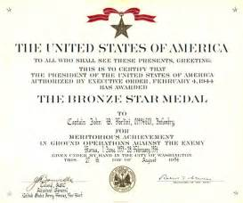 Bronze Star Certificate Template Gallery For Gt Bronze Star Medal Citation