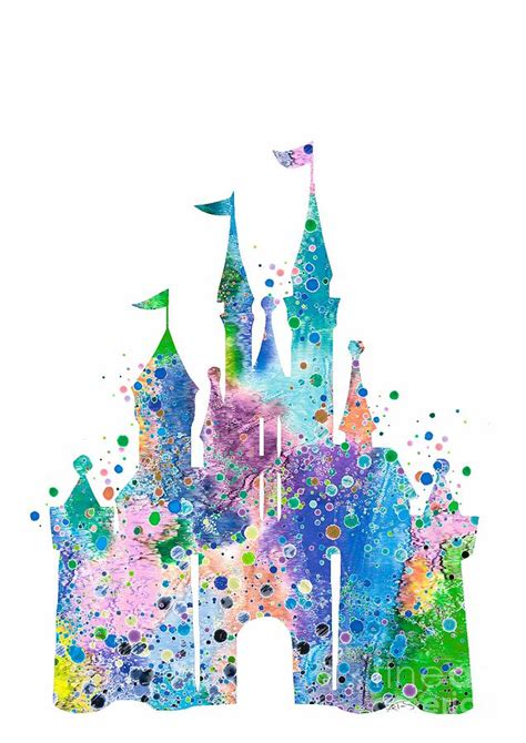 Home App Design And Decor by Disney Castle 2 Watercolor Print Digital Art By Svetla