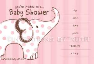 pink elephant baby shower invitations pre printed invitations by ruth