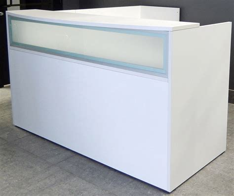 L Shaped White Reception Desk W Frosted Glass Panel Reception Desk Glass