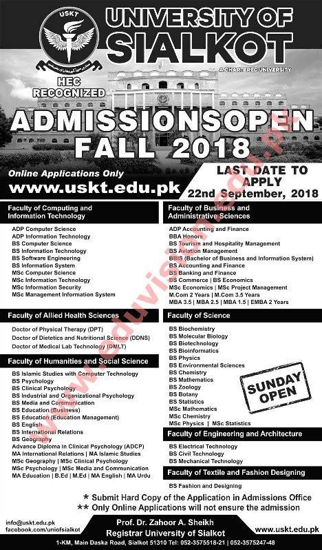 university  sialkot uskt sialkot admission  undergraduate bachelor degree courses