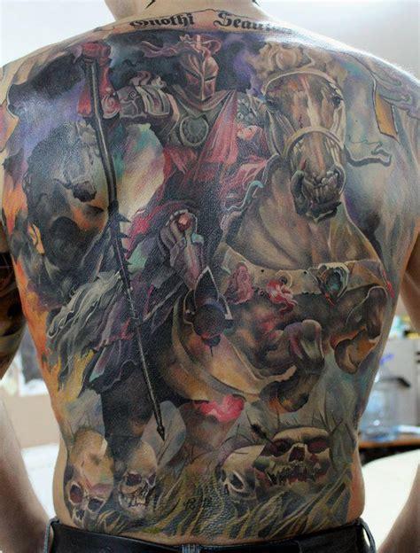 tattoo back warrior warrior and horse 3d tattoo on full back tattooshunt com