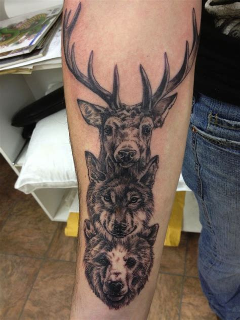 totem pole tattoo wolf and deer totem pole blackwork